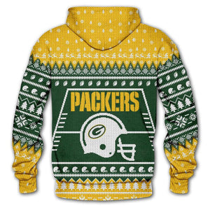 Green Bay Packers 3d Hoodie Christmas Edition
