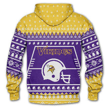 Load image into Gallery viewer, Minnesota Vikings 3d Hoodie Christmas Edition