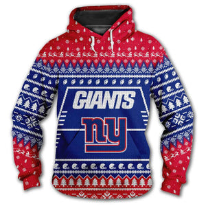 New York Giants 3d Hoodie Christmas Edition