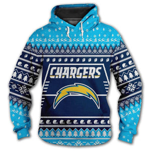 Los Angeles Chargers 3d Hoodie Christmas Edition