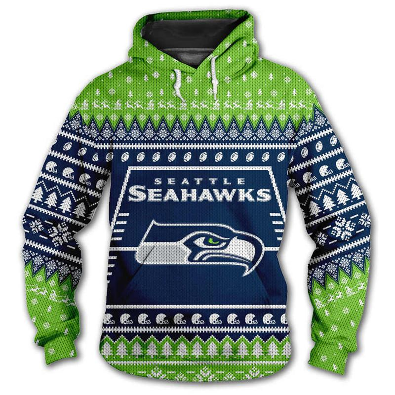Seattle Seahawks 3d Hoodie Christmas Edition