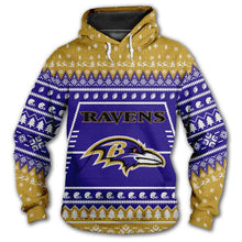 Load image into Gallery viewer, Baltimore Ravens 3d Hoodie Christmas Edition