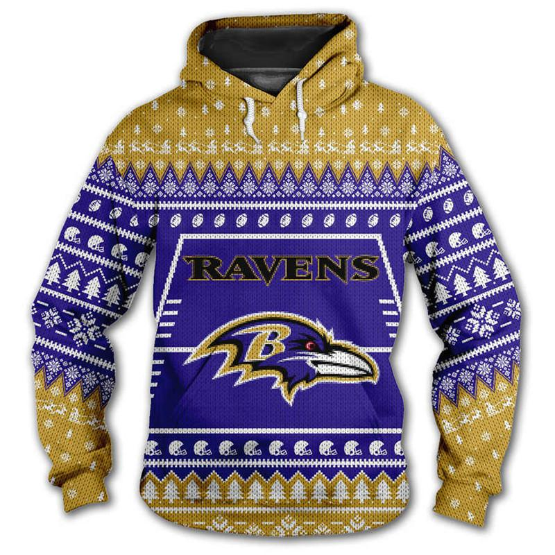Baltimore Ravens 3d Hoodie Christmas Edition