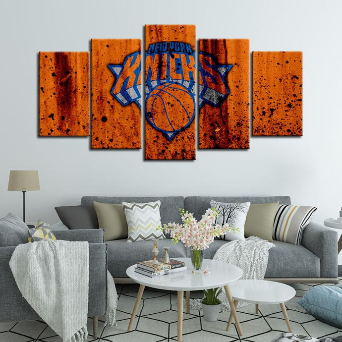 New York Knicks Rough Look 5 Pieces Wall Painting Canvas