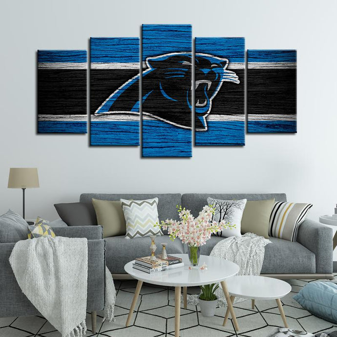 Carolina Panthers Wooden Look 5 Pieces Wall Painting Canvas