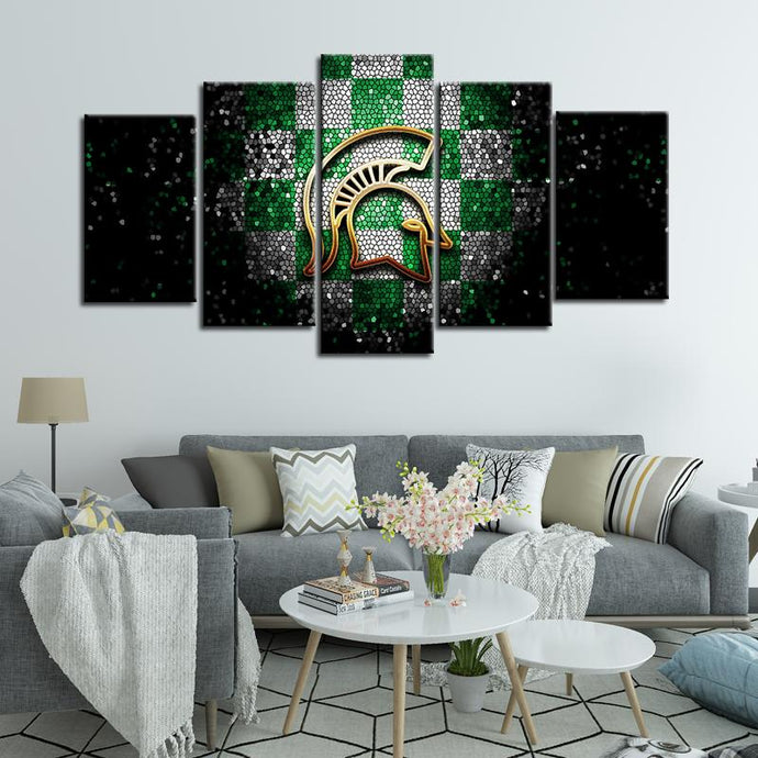 Michigan State Spartans Football Aluminate 5 Pieces Painting Canvas