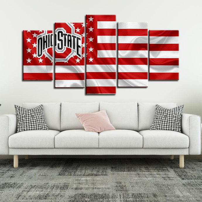 Ohio State Buckeyes American Flag 5 Pieces Painting Canvas