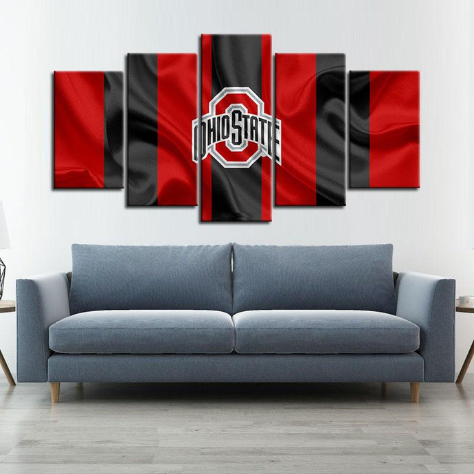 Ohio State Buckeyes Fabric Look 5 Pieces Painting Canvas