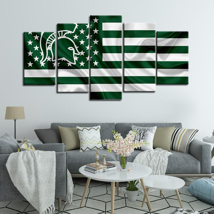 Michigan State Spartans Football American Flag 5 Pieces Painting Canvas