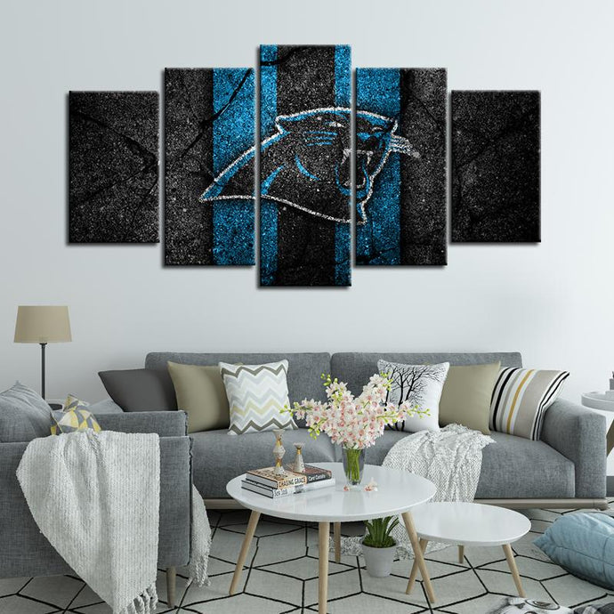 Carolina Panthers Rock Style 5 Pieces Wall Painting Canvas
