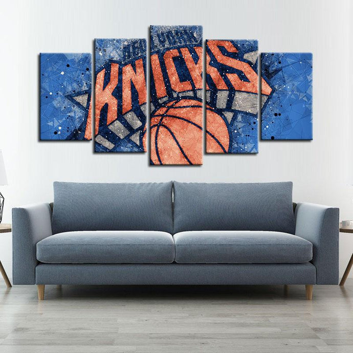 New York Knicks Techy Look 5 Pieces Wall Painting Canvas