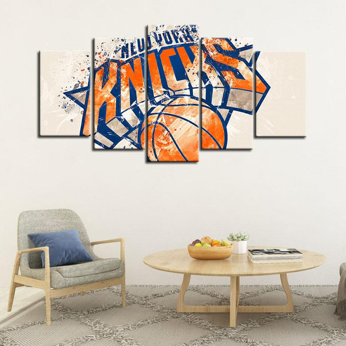 New York Knicks Paint Splash 5 Pieces Wall Painting Canvas