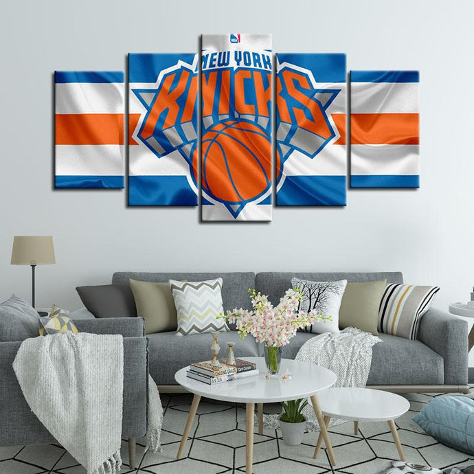 New York Knicks Fabric Look 5 Pieces Wall Painting Canvas