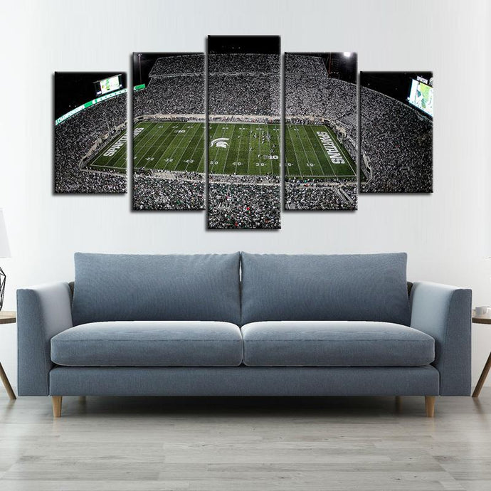 Michigan State Spartans Football Stadium 5 Pieces Painting Canvas