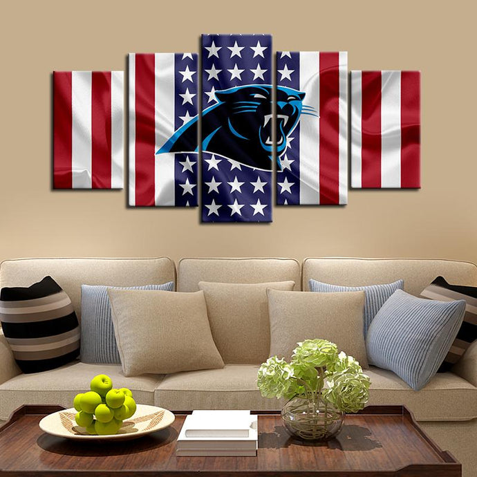 Carolina Panthers American Flag 5 Pieces Wall Painting Canvas