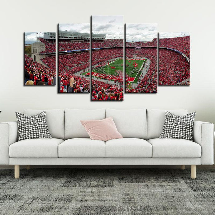Ohio State Buckeyes Stadium 5 Pieces Painting Canvas