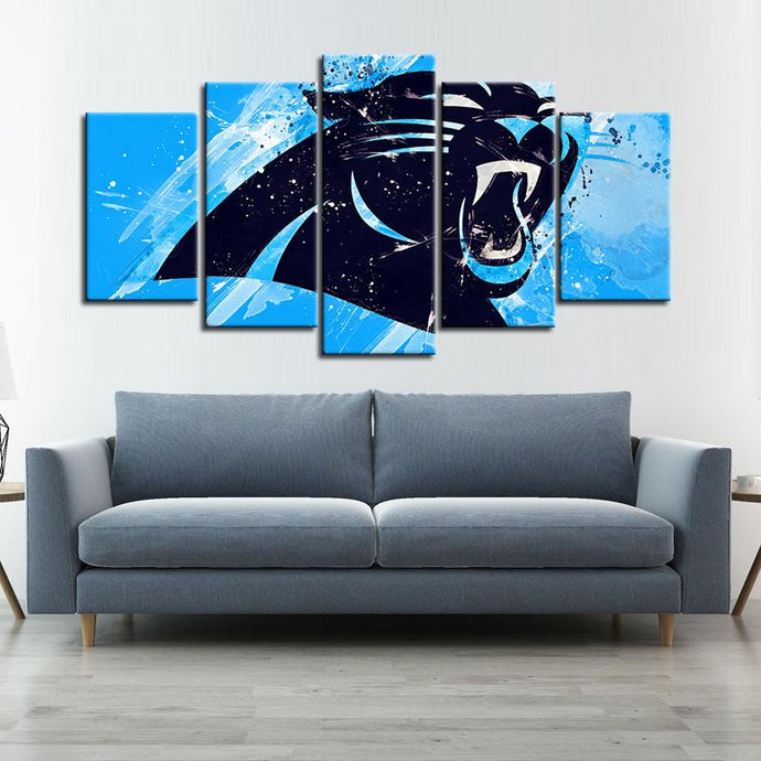 Carolina Panthers Paint Splash 5 Pieces Wall Painting Canvas
