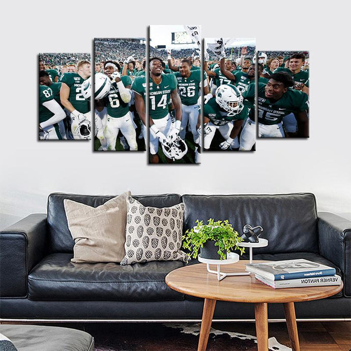 Michigan State Spartans Football Team Up 5 Pieces Painting Canvas