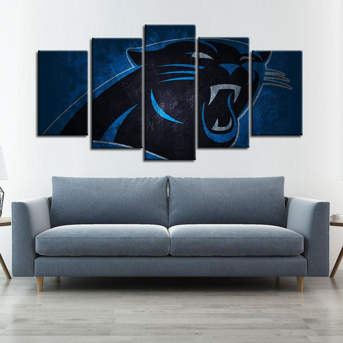 Carolina Panthers Stone Look 5 Pieces Wall Painting Canvas