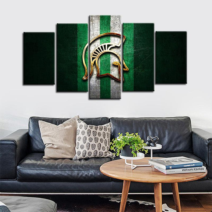 Michigan State Spartans Football Metal Look Canvas