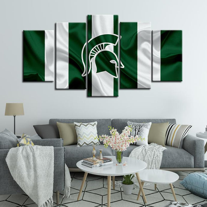 Michigan State Spartans Football Fabric Look 5 Pieces Painting Canvas