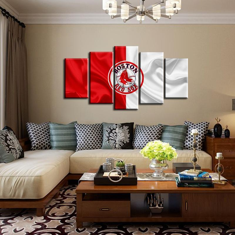 Boston Red Sox Fabric Flag 5 Pieces Wall Painting Canvas