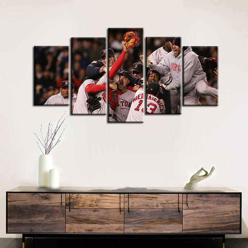 Boston Red Sox Victory Moments 5 Pieces Wall Painting Canvas