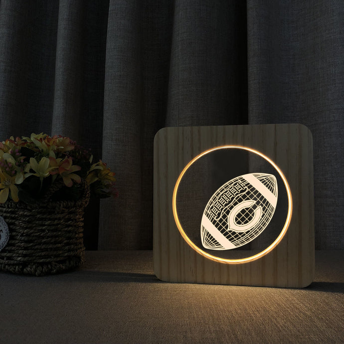 Chicago Bears 3D Wooden LED Lamp