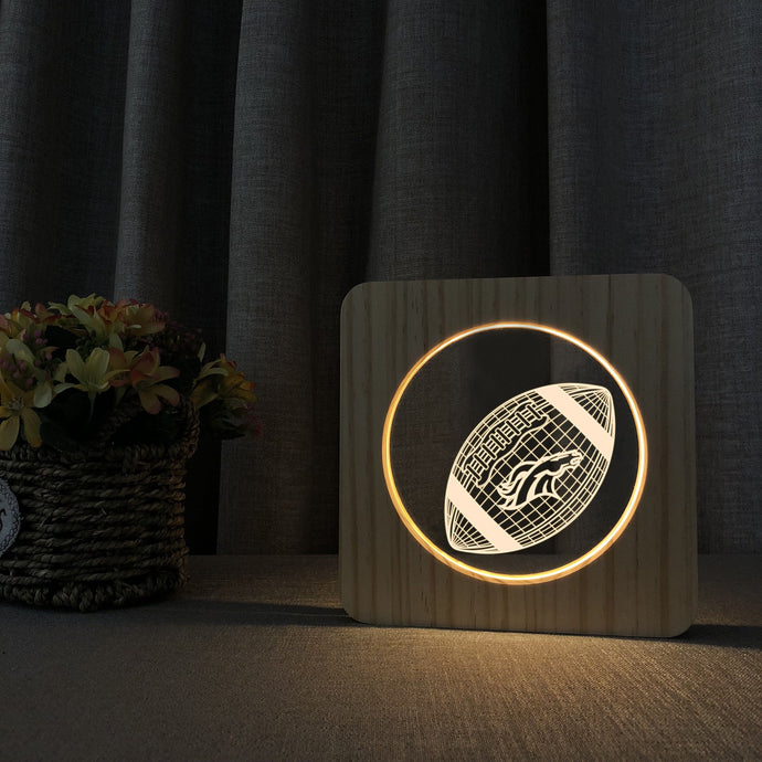 Denver Broncos 3D Wooden LED Lamp