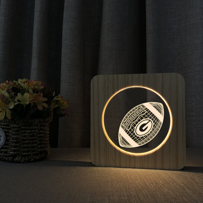 Green Bay Packers 3D Wooden LED Lamp