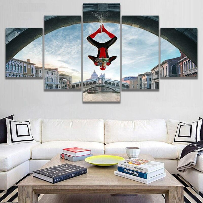 Spiderman Upside Down Wall Art Canvas