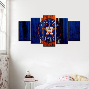 Houston Astros Rough Look 5 Pieces Wall Painting Canvas