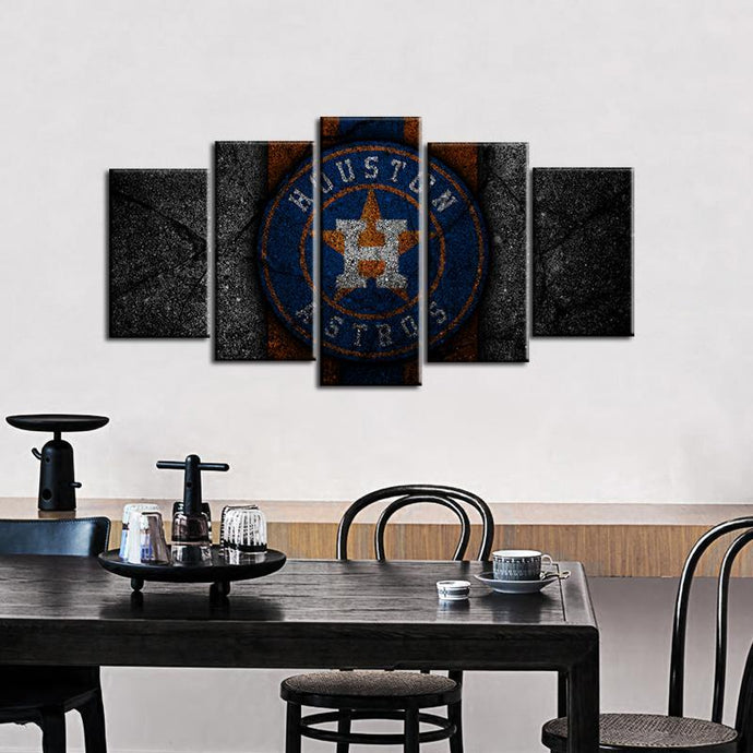 Houston Astros Rock Style 5 Pieces Wall Painting Canvas