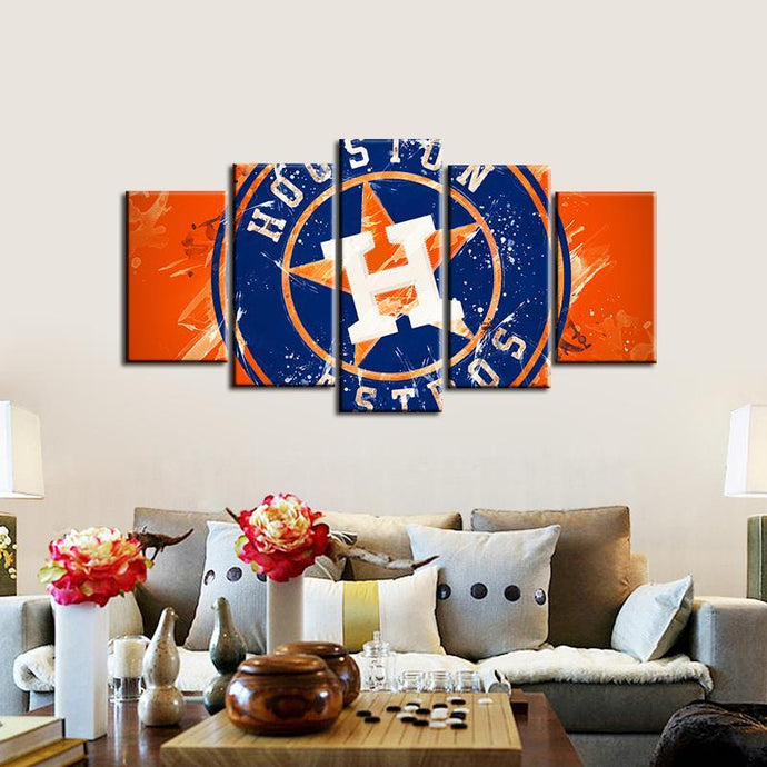 Houston Astros Paint Splash 5 Pieces Wall Painting Canvas