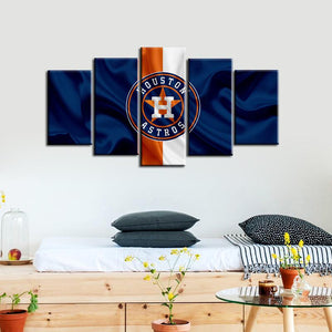 Houston Astros Fabric Flag Style 5 Pieces Wall Painting Canvas