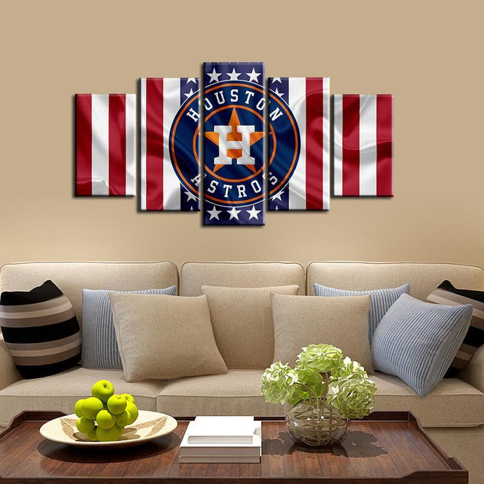 Houston Astros American Flag Look 5 Pieces Wall Painting Canvas