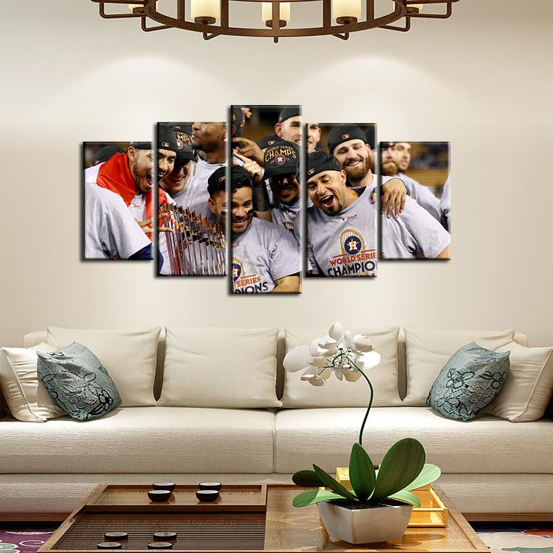 Houston Astros Champions Celebration 5 Pieces Wall Painting Canvas