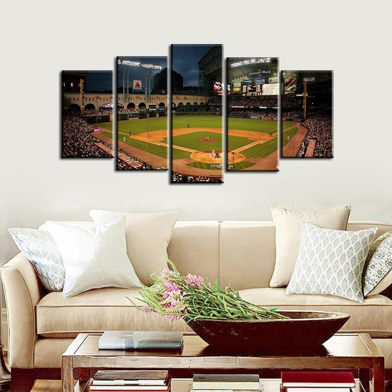 Houston Astros Stadium 5 Pieces Wall Painting Canvas-2