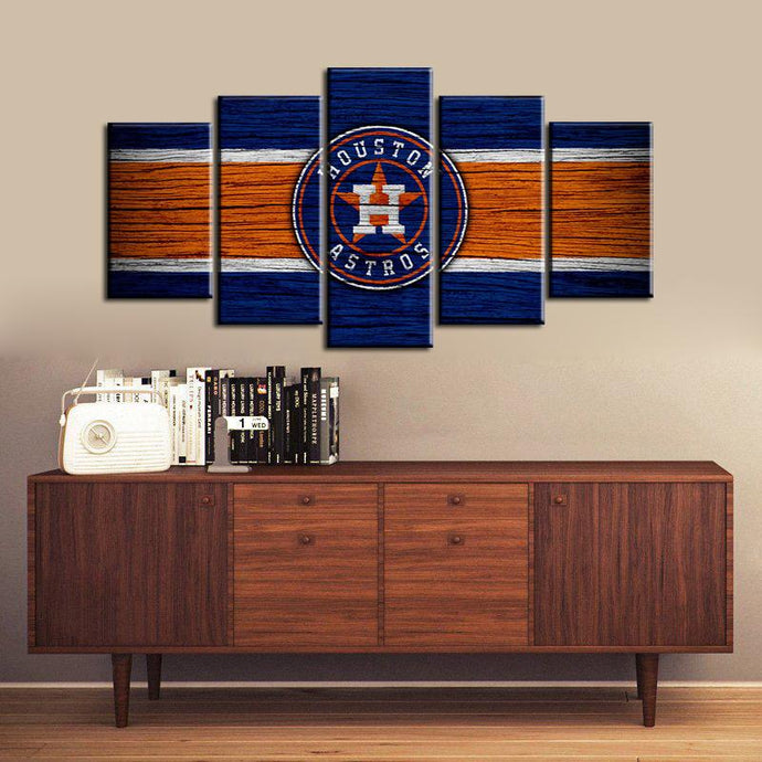 Houston Astros Wooden 5 Pieces Wall Painting Canvas