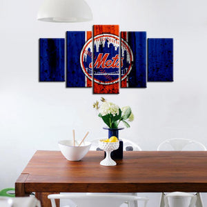 New York Mets Rough Style 5 Pieces Wall Painting Canvas