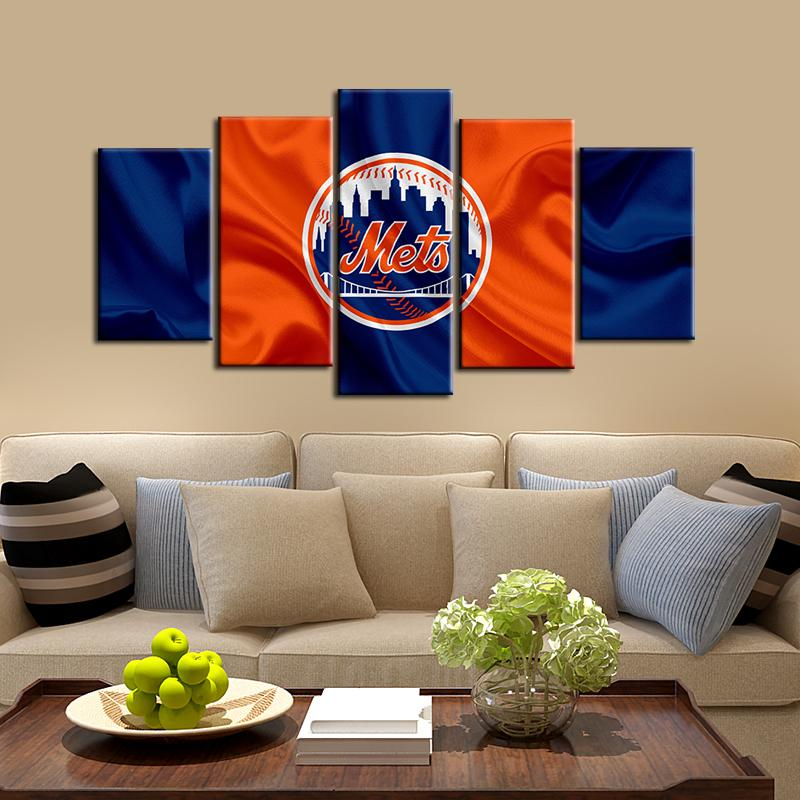 New York Mets Fabric Flag 5 Pieces Wall Painting Canvas