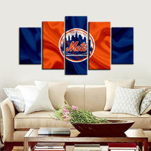 Load image into Gallery viewer, New York Mets Fabric Flag 5 Pieces Wall Painting Canvas