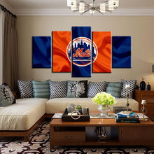 Load image into Gallery viewer, New York Mets Fabric Flag Canvas