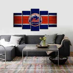 New York Mets Wooden Look 5 Pieces Wall Painting Canvas