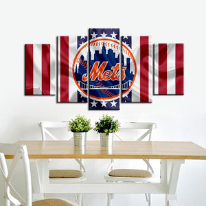 New York Mets American Flag 5 Pieces Wall Painting Canvas