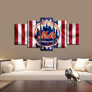 New York Mets American Flag Canvas