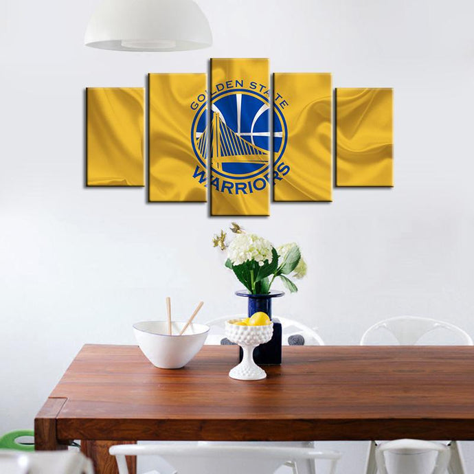Golden State Warriors Fabric Flag 5 Pieces Wall Painting Canvas