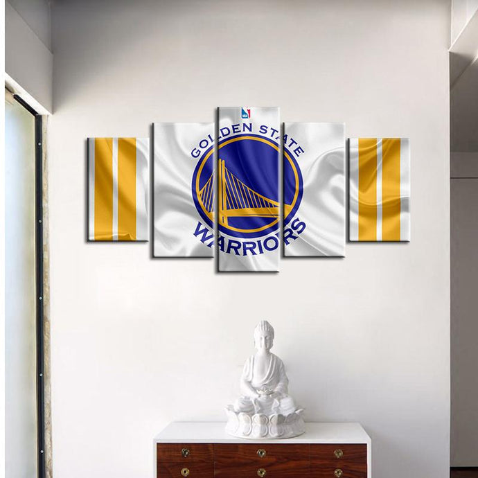 Golden State Warriors Fabric Look 5 Pieces Wall Painting Canvas