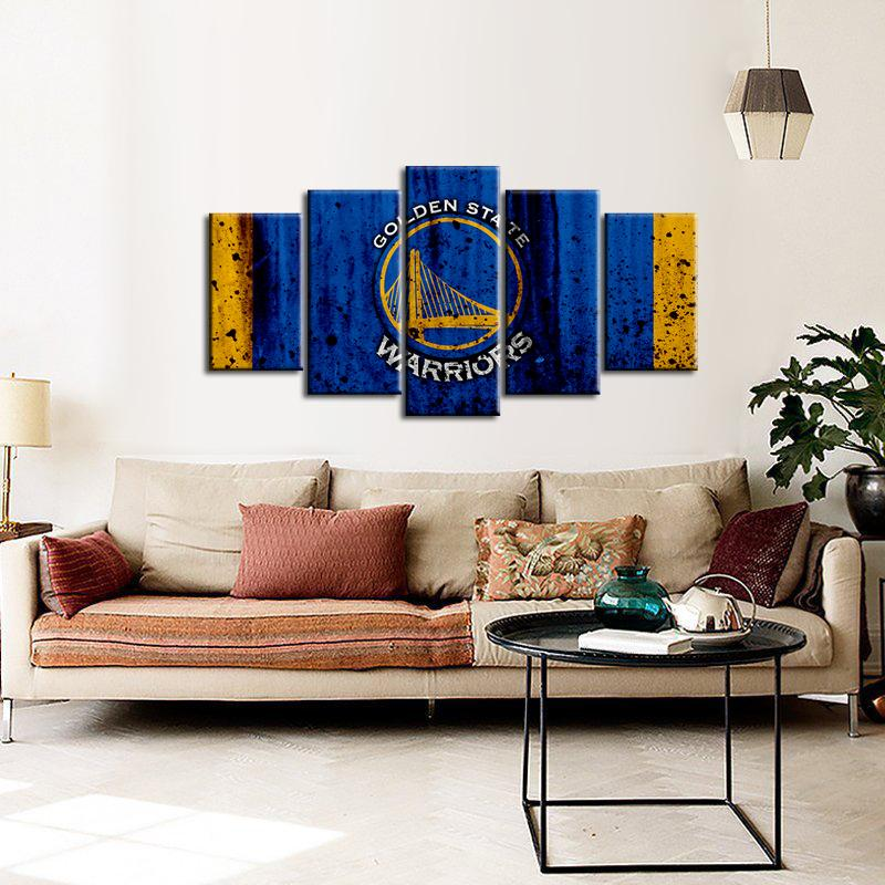 Golden State Warriors Rough Look 5 Pieces Wall Painting Canvas