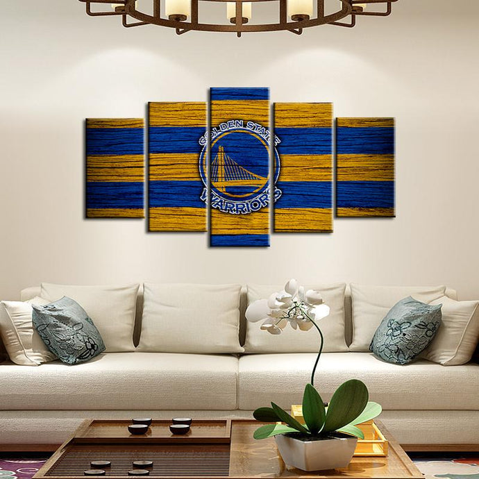 Golden State Warriors Wooden Look 5 Pieces Wall Painting Canvas